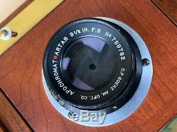 ALT VIEW WA 410 Wooden Camera 4x10 with 9-1/2 In. Artar Lens & 5 Film Holders-Rare