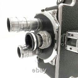 Bolex H8 H-8 (1941) 8mm Movie Film Camera with 3 Lens Fully Working S8-2176