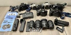 Canon EOS Film Camera + Lens Lot Elan II 630 7E Rebel G 2000 35-80 18-55 80-200