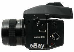 Contax 645 Medium Format + Planar 80mm F2 T Lens. MFB-1A 120/220. Hood. Strap