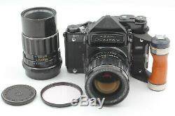 EXC+3 Pentax 6x7 67 TTL Mirror up Body + 75mm 200mm LENS Wood Grip from Japan