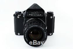 EXC +4 Pentax 6x7 67 Eye Level Finder + 75mm Lens + Grip Hood From Japan 4290