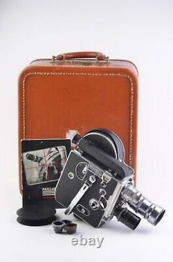 EXC++ BOLEX H16 16mm MOVIE CAMERA, 3 LENSES, FINDER, CASE, WORKS! READ