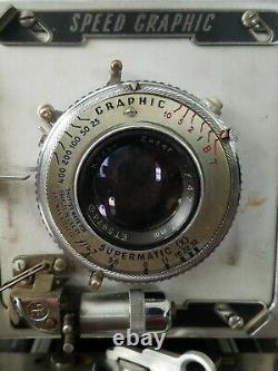 Graflex Speed Graphic 4x5 Press Camera Kodak Ektar 127mm f4.7 Lens Graflok WORKS