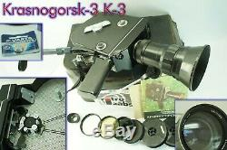 Krasnogorsk 3 16 mm Movie Camera + lens Meteor 5-1 17-69 mm M42, Last one