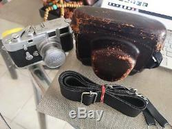 Leica M3 35mm Rangefinder, Elmar 50/3.5 lens, and case