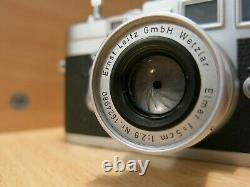 Leica M3 & Elmar 50mmf/2.8 collapsible lens, #977389, SS-mint-free shipping