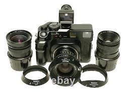 Mamiya 7II rangefinder 3 lens camera set 50, 65, 80mm finder hoods manual