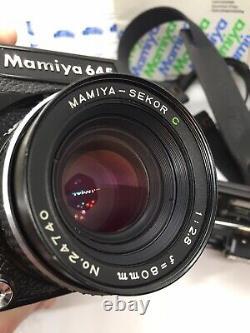 Mamiya M645 Medium Format Portrait Camera Kit WithLens Case Line In Prism Finder