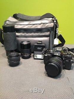 Minolta X-700 SLR Film Camera + Flash + Lenses And Carrying Case