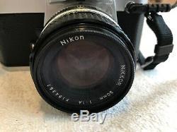 Nikon FE 50mm f/1.4 AI-S Prime MF Nikkor Lens Chrome SLR Film Camera Body MF-12