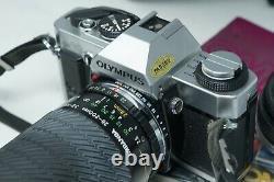OLYMPUS OM20 OM-20 SLR FILM CAMERA WITH OLYMPUS 50mm 28-200mm LENSES