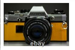 Olympus OM10 35mm Film Camera with 50mm f/1.8 Zuiko Lens Yellow Leather Serviced