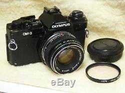 Olympus OM-3 black 35mm film camera with 50mm f1.8 f Zuiko auto s lens om3