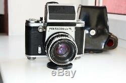 PENTACON SIX TL SLR film camera MEDIUM Format withs Carl Zeiss Jena BIOMETAR AS IS