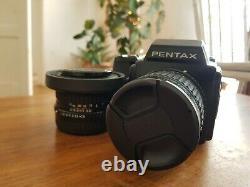 Pentax 645 120mm camera + 45mm f2.8 lens + 75mm f2.8 lens