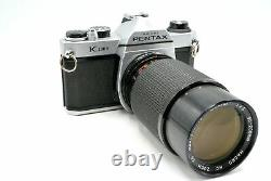 Pentax K1000 Deluxe Camera Kit + wide angle + telephoto zoom lens + 28mm + Flash