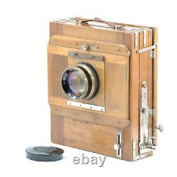 RARE FKD 18x24cm Large Format Wooden Camera with Lens, 2x Cassettes & Case! Read