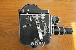 VTG Paillard Bolex H-16 Movie Camera, 16mm, 3 good condition lenses, Case