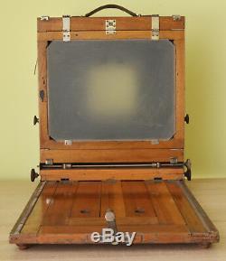 Vintage Custom FKD 24x30cm Large Wooden Camera With 2 Lenses & 2 Cassettes